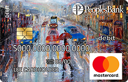 Rain debit card - depicts a painting of rainy city