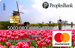 Tulips debit card - pink tulips with windmills