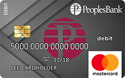 Generic debit card - gray background with Peoples Bank maroon P logo